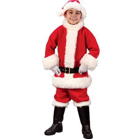 Kids Costumes - This child Flannel Santa Costume includes the soft red hat with white trim, the classic red Santa coat and matching pants, the black belt, black boot covers with white trim, and the white gloves. Bell available separately.